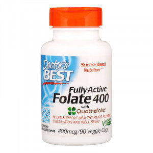 Doctor's Best Fully Active Folate 400 with Quatrefolic 400 mcg (90 капс.)