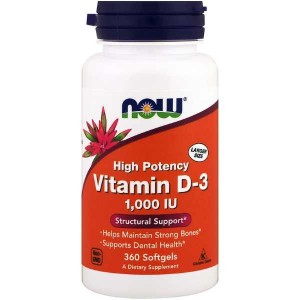Now Foods Vitamin D3 1000 IU Softgels (360 капс.)