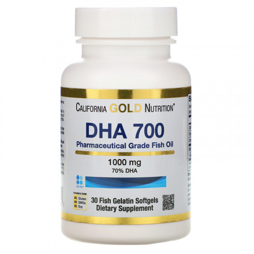 California Gold Nutrition DHA 700 Fish Oil Pharmaceutical Grade 1000 мг Fish Gelatin Softgels (30 капс.)