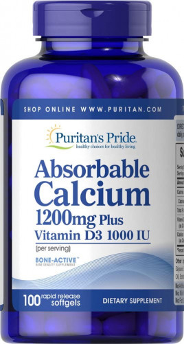 Puritan's Pride Absorbable Calcium 1200 мг with Vitamin D3 1000 IU Softgels (100 капс.)