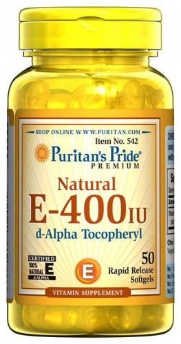 Puritan's Pride Vitamin E-400 IU 100% Natural (50 капс.)