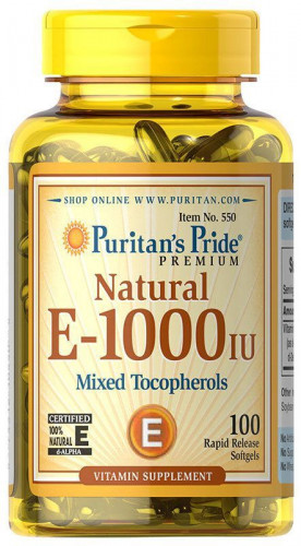 Puritan's Pride Vitamin E-1000 IU Mixed Tocopherols Natural (100 капс.)