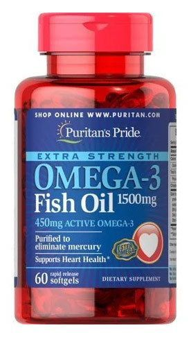 Puritan's Pride Extra Strength Omega-3 Fish Oil 1500 мг (60 капс.)