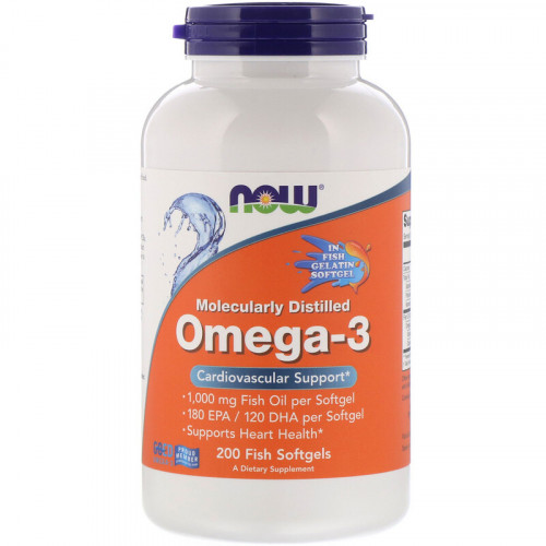 Now Foods Molecularly Distilled Omega-3 Fish Softgels (200 капс.)