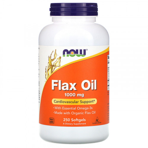 Now Foods Flax Oil Essential Omega-3's 1000 мг Softgels (250 капс.)