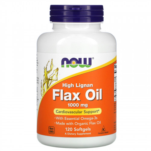 Now Foods High Lignan Flax Oil 1000 мг Softgels (120 капс.)