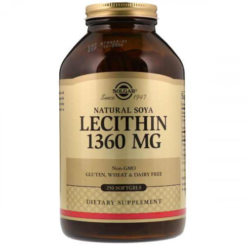 Solgar Natural Soya Lecithin 1360 мг Softgels (250 капс.)