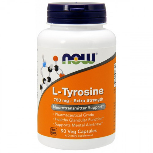 Now Foods L-Tyrosine 750 mg Extra Strength Veg (90 капс.)